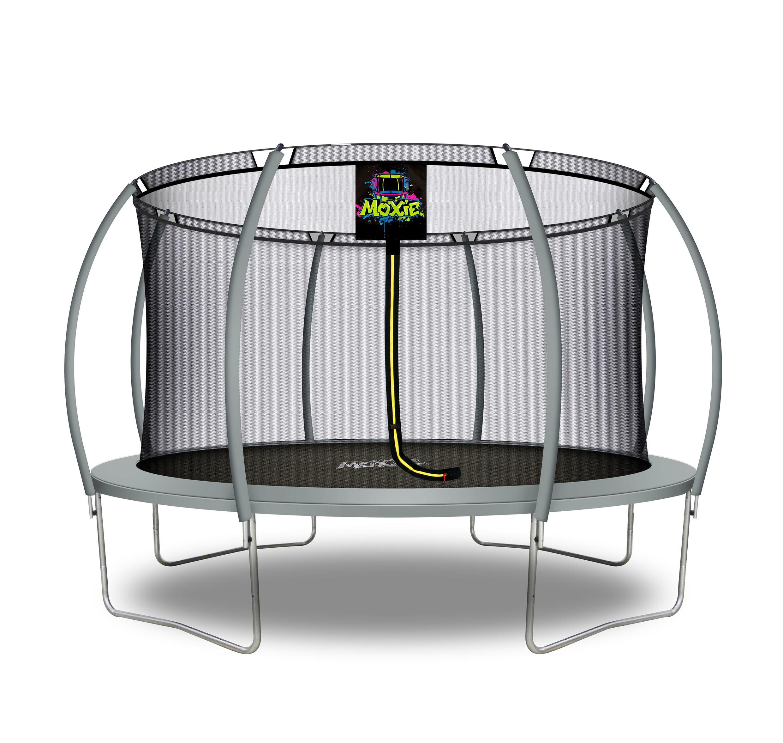 Trampolino Tappeto Elastico a Zucca da Giardino ed Esterno con Rete di Sicurezza - 427 cm - Grigio   Moxie