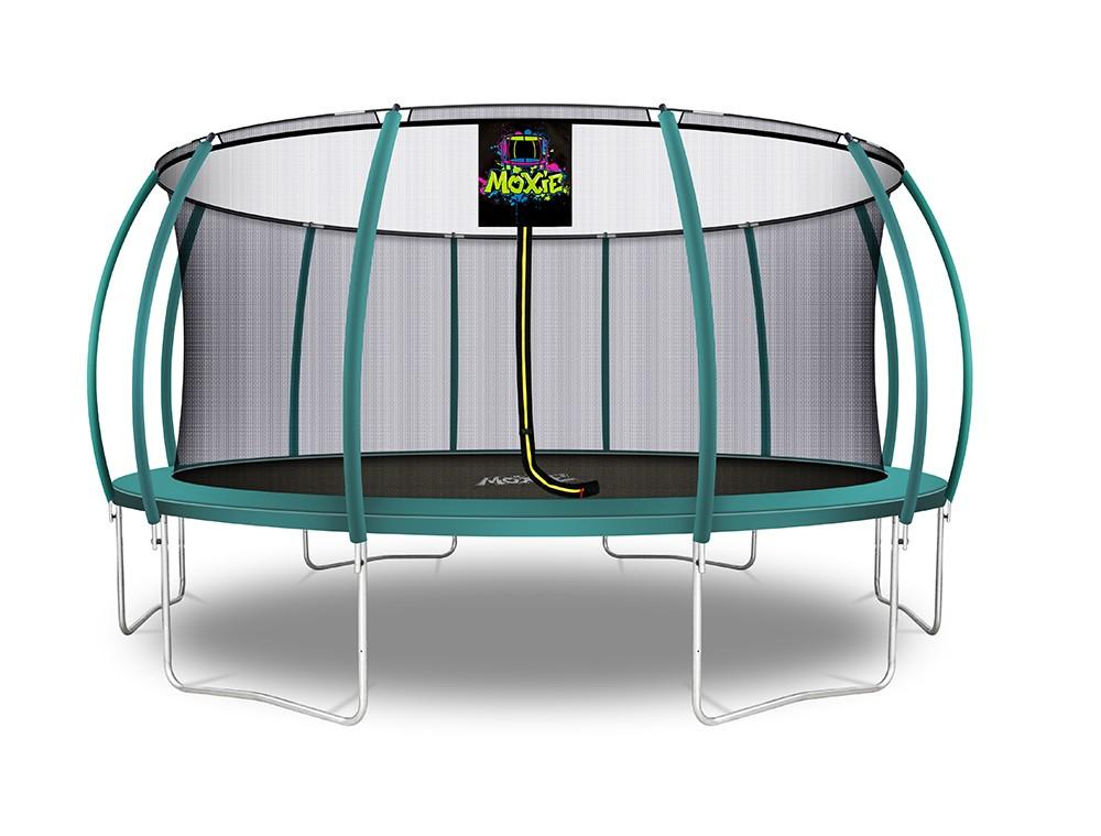 Trampolino Tappeto Elastico a Zucca da Giardino ed Esterno con Rete di Sicurezza - 488 cm - Verde Scuro   Moxie