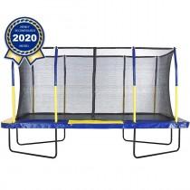 Trampolino Tappeto Elastico Professionale Rettangolare da Giardino Esterno Completo di Rete di Sicurezza | 457 x 274 cm