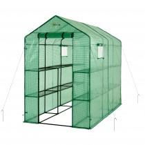 Mini Serra Portatile da Giardino, Orto per Piante Fiori in Polietilene Verde - 12 Ripiani - 124 x 249 x 190 cm