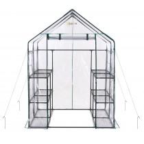 Mini Serra Portatile da Giardino Orto per Piante Fiori in PVC Trasparente - 12 Ripiani - 143 x 143 x 195 cm