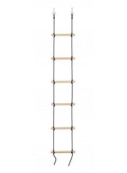 Scala di Corda a 6 Pioli in Legno per Bambini | Scaletta di Arrampicata e Risalita | Corda Nera